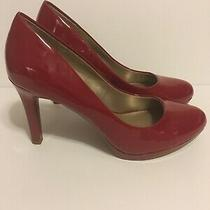 Ladies Bandolino Shiny Red Pumps Shoes Size 8 4 Heel Photo