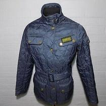 Ladies Barbour International Quilt Blue Jacket Size Uk 12 Eur 38 Us 8  Photo