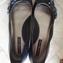 Ladies Bdwarrick Navy Vegan Open-Toe Flats by Bandolino 7m Beaded Accents W/box Photo