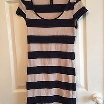Ladies Beige & Navy Striped Short Dress / Long Top - h&m - Small Photo