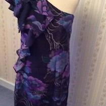 Ladies Belle by Oasis Pure Silk One Shoulder Navy Blue Floral Dress - Uk10 -Bnwt Photo