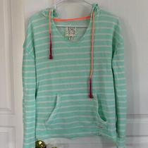 Ladies Billabong Sweatshirt Size Small Green White Stripe Euc Photo