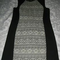Ladies Black and White Patterned Dress Size 14 Photo