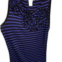 Ladies Black & Blue Stripe Design History Size Medium Sleeveless Top Flower Photo