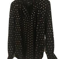 Ladies Black Evening Shirt Loose Fit Size 16 Rose Gold Pattern Photo