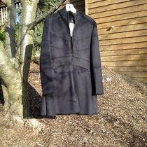 Ladies Black via Spiga Hooded Faux Suede Coat  Size Medium Photo