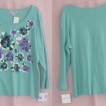 Ladies Blouse by Sag Harbor in Aqua - Nwt - Size Xl Photo