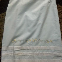 Ladies Blue Skirt Sz 3/4 (Medium) Floral Pattern With White Trim - Express  Photo