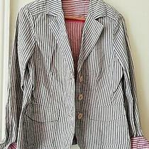 Ladies Blue Striped Blazer / Jacket Basler Black Label Size 12 Photo