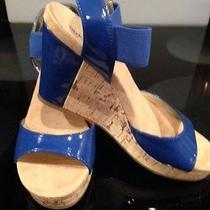 Ladies Blue Wedge Sandals Photo