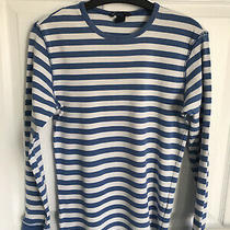 Ladies Blue/white h&m Striped Long Sleeved Top - Size Small Photo