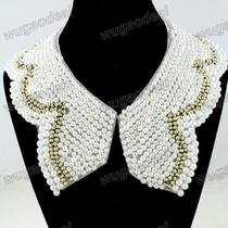 Ladies Bowknot Detachable Lace Peterppan Imitation Pearls Collar Necklace Photo