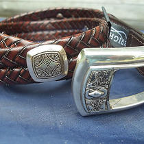 Ladies Braided Brown Brighton Belt With Silver and Gold Color Decor Size 28 S Photo