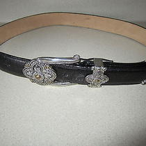 Ladies Brighton Black Leather Belt Sz Medium Free Shipping Silver Buckle Photo