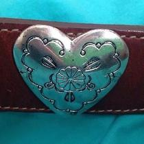 Ladies Brighton Sterling Silver Hearts Leather Belt Usa 32-34 Waist Photo