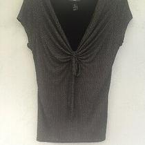 Ladies Cap Sleeved v Neck Top Size S From h&m Black With White Spots & Tie Bow Photo