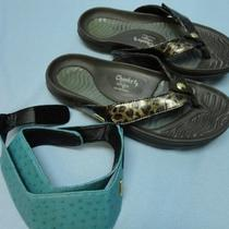 Ladies Cheeks Brown Bandals Sandals Tony Little Designs Plus Aqua Straps Sz 8 Photo