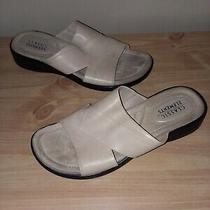 Ladies Classic Elements Mallory Beige Tan Leather Slip on Slide Sandals 7.5  Photo