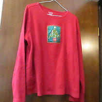 Ladies Classic Elements Red Long Sleeve Embellished Christmas Top Size Xl Photo