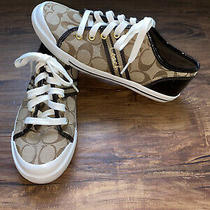 Ladies Coach Brown Signature Sneakers Tie Shoes  Folly  Size 7.5 B Photo
