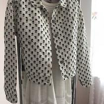 Ladies Coach Cream/navy Rose Print Jacket Size M. Bnwot Photo
