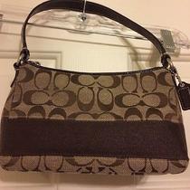 Ladies Coach Purse/handbag Brown/beige Signature Fabricsmallcute Photo