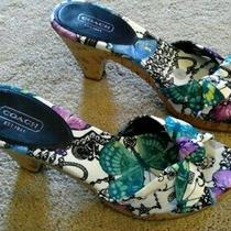 Ladies Coach -Size 7.5 Multi Color 3 1/2 in Heel Butterflies Euc Beautiful Photo
