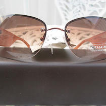 Ladies Designer Coach Signature Sunglasses and Brown Leather Designer Casenwt' Photo