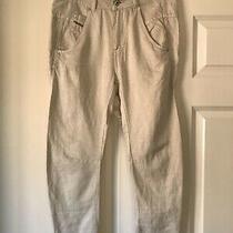 Ladies Diesel Beige Jeans Cut Pants / Trousers Size 26 Linen Blend Fit Uk 8/10 Photo