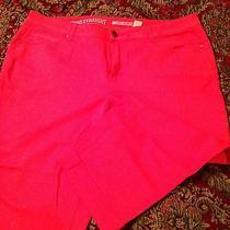 Ladies Dkny Soho Straight Plus Sz 22 Capri Jeans Bright Bright Red Color Nwot Photo