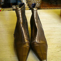 Ladies Donald J Pliner Gold Pointy Toe Ankle Boots 7.5 M Photo