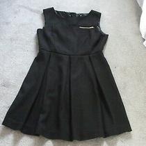 Ladies Dress by h&m Size Eu - Uk 14. Heavy Black Crepe. Features Gold Tone Zips  Photo