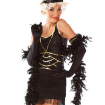 Ladies Dress Up Fancy Costume Black  Charleston 1920's Flapper Sz 12-14  Lz515 Photo