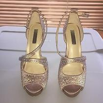 Ladies Dressy Evening Shoes Sandals Stilettos Blush Inc Rhinestones Wedding 8.5 Photo