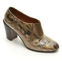Ladies Dries Van Noten Crocodile Pumps 38 / 7.5 Antique Gold Leather Heels Shoes Photo