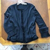 Ladies Escada Cardigan Black With Accent Cuffs Size 40 Photo