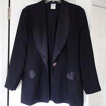 Ladies European Style Evening Pants Suit by Canda Black Eu Size 38 One Button Photo