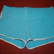 Ladies Express Aqua Blue & White Cotton Athletic Shorts - Size Small Photo