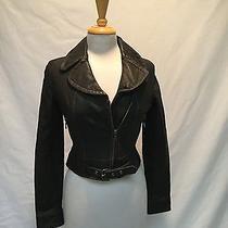 Ladies Express Black Leather Motorcycle Jacket-Size Xsmall Photo