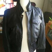 Ladies Express Blk Leather Jacket Coat. Small Photo