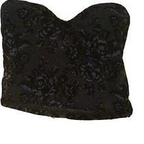 Ladies Express Bustier Corset Top Size M Black Velvet Lace  Photo