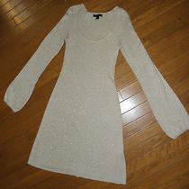 Ladies Express Champagne & Gold Metallic Knit Dress Medium Photo