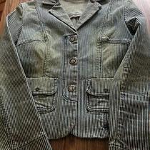 Ladies Express Denim Jacket Xs Striped Size 3/4 Blazer Photo