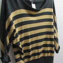 Ladies Express Size Xs Knit Top Charcoal Gray/tan Stripe Dolman Sleeve Photo