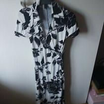 Ladies Floral White and Black Dress From h&m Size Eu32 Uk4-6 Photo