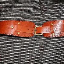 Ladies Fossil Brown Leather Belt With Brass Detail Sz. L Photo
