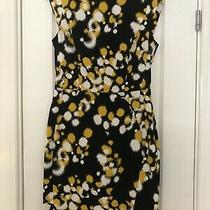 Ladies French Connection Stretch Fitted Shift Dress Black/ Yellow/ White Size 10 Photo