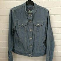 Ladies Gap Blue Ribbed Popper Stretch Cotton Corduroy Jacket Size Medium  Photo