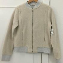 Ladies Gap Cream Sherpa Zip Front Fleece Jacket Size Medium - Bnwt Photo
