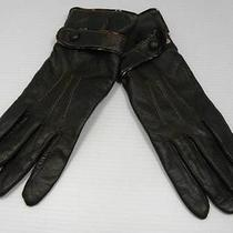 Ladies Gap L Large Brown Genuine Leather Gloves With Strap Snaps Nwot Womens Photo